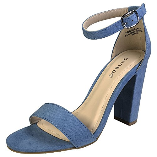 Light Blue Block (Bamboo Women's Single Band Chunky Heel Sandal With Ankle Strap, Light Blue Faux Suede, 7.0 B US)