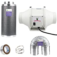 Growsun Indoor Grow Exhaust Kit Duct Fan Carbon Filter Combo With 25-Feet Ducting and 2 Clamps