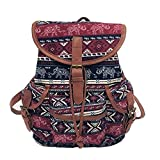 YJYDADA Women Vintage Canvas Bag National Wind Backpack Travel Bag School Bag (B)