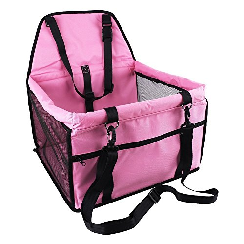 OAKZIP Upgrade Pet Car Booster Seat for Dog Cat Portable and Breathable Bag with Seat Belt Dog Carrier Safety Stable for Travel Look Out,with Clip on Leash and Storage Pockage (Seat Belt Front)