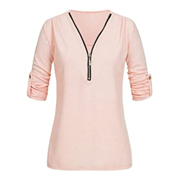Youngh 2018 New Womens V Neck Zipper Plus Size Solid Loose Casual Blouse T