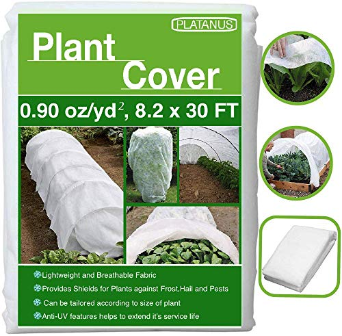 PLATANUS – Plant Covers Freeze Protection – 8.2 Ft x 30 Ft -(0.90 oz/yd²)- Reusable Plant Covers for Winter,Frost Freeze Protection Covers Anti-UV for Snow and Cold Weathers