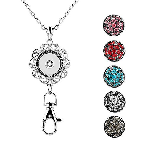 Mel Crouch Women Office Lanyards ID Badges Holder Necklaces with Flower or Emoji Snap Charms Snap Necklace Clip Pendant (flower)