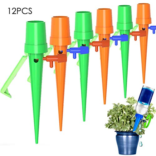 Aisheny 12Pcs Upgraded Self Watering Spikes System, Automatic Vacation Drip Irrigation Watering Devices, Plant Waterer with Holder Anti-Fall, Slow Release Control Switch for Outdoor Indoor Plants Tree