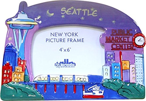 (Seattle At Night Hand Painted Designer 4x6 Picture Frame of the Iconic Seattle Skyline)
