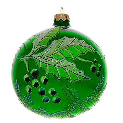Amazon.com: Green Holly Hand Painted and Mouth Blown Christmas ...