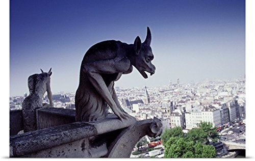 Great BIG Canvas Poster Print entitled Gargoyle, View from Notre Dame, Paris by greatBIGcanvas