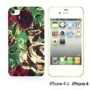OnlineBestDigital - Fabric Pattern Hard Back Case for Apple iPhone 4S / Apple iPhone 4 - Purple Watercolor Floral Prints