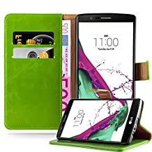Cadorabo – Luxury Book Style Wallet Design Case for LG G4 with 2 Card Slots and Stand Function - Etui Case Cover Protection Pouch in GRASS-GREEN