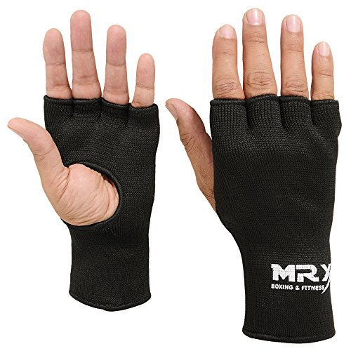 Muay Thai Boxing Inner Gloves Protective Hand Wrap (Black Medium)
