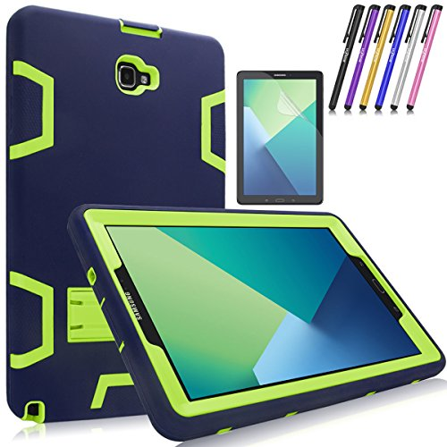 (Mignova Heavy Duty Hybrid Protective Case with Build In Kickstand For Samsung Galaxy Tab A 10.1 with S Pen SM-P580 SM-P585 + Screen Protector Film and Stylus Pen (Navy Blue/Green))