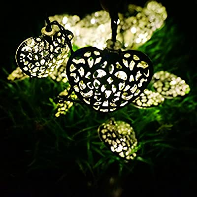 LED SopoTek Yellow Solar Powered String Lights 20LED 5Meters iron heart-shaped for Outdoor Garden Fence Patio Christmas Party Wedding Decoration Waterproof (20LED Yellow/Warm white)