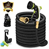 100ft Garden Hose - Expandable Water Hose with 13-Layer Latex Core, 3/4' Solid Brass Fittings, Extra-Flexible Fabric & 8 Pattern Spray Nozzle, 3-Year Warranty