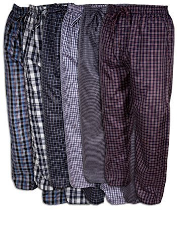 Basics Men's 6 Pack Woven Drawstring Thin - Lightweight Sleep & Lounge Pants (Large 36-38, 6 Pack - Assorted Classic Plaids) by Best Brand Basics