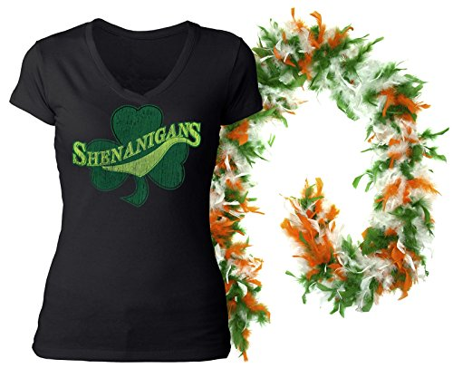 T-shirt Free Ship (IrishWholesale ST. Patrick's Day Irish Shirt Womens Cute Irish Shenanigans Shamrock Clover Vneck Tshirt With Free Boa (XXX-Large))