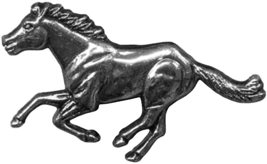 スプリングフィールドレザー会社のシルバーメッキRunning Horse Crystal Concho左Facing B07BFJ72HY