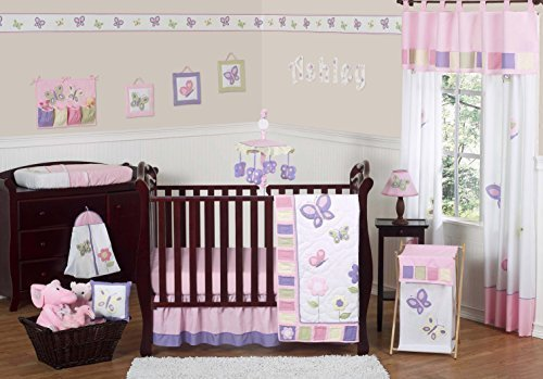 Sweet Jojo Designs 11-Piece Pink and Purple Butterfly Flower Collection Baby Girl Bedding Crib Set Without Bumper [並行輸入品]   B07J5KGVSC