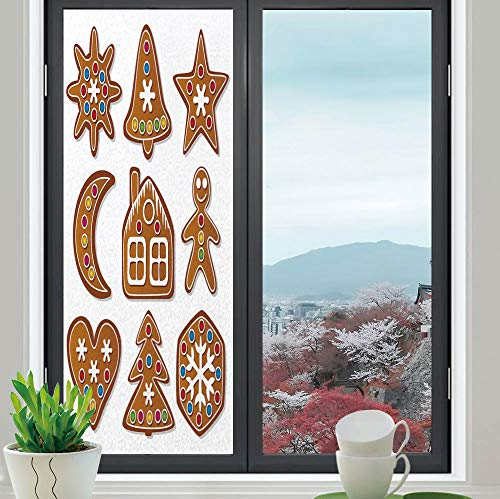 (YOLIYANA Control Heat and Anti UV Window Cling,Gingerbread Man,Reduce Heat, Glare and Block Out Harmful UV Rays,Set of Graphic Gingerbread Sugar Biscuits with Colorful,24''x70'')