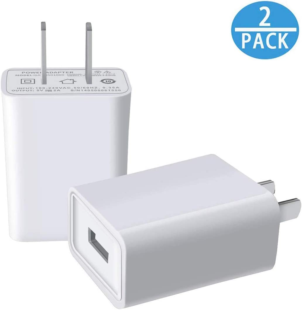 USB Wall Charger FOBSUNLAND. USB Wall Plug 5V 2A AC Power Adapter Compatible with iPhone,iPad,Samsung,Tablet,Kindle and More (White 2pack)