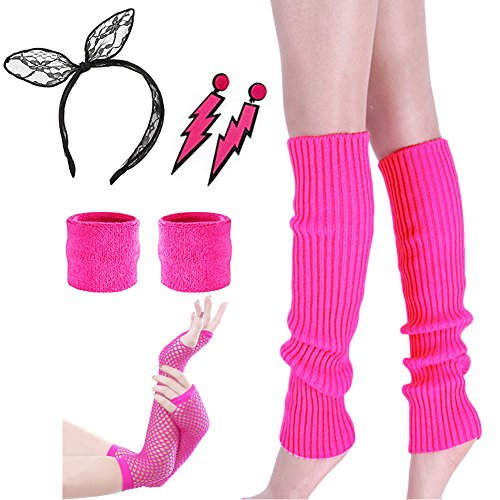 Costume 80s Fancy Outfit Accessories Set-Neon Headband,Leg Warmers,Gloves