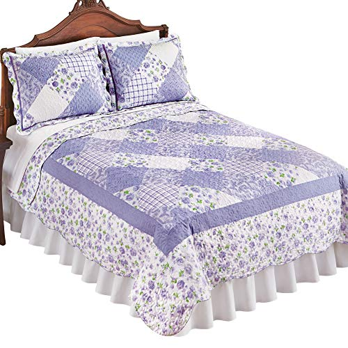 (Collections Etc Reversible Tranquil Lavender Floral Diamond Patchwork Quilt with Scalloped Edges - Spring Bedroom Decor, Lilac, Full/Queen)