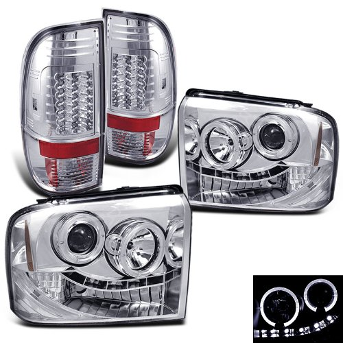 Rxmotoring 2005-2007 F250 Super Duty Headlights Projector + Tail Light