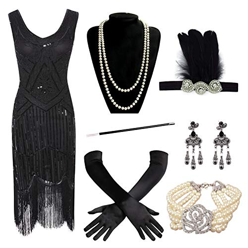 20s Flapper Gatsby Sequin Beaded Evening Cocktail Dress with Accessories Set Black ()