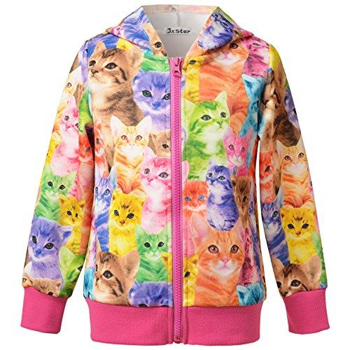 Jxstar Little Girls Cat Jacket Coat Long Sleeve Full Zip Hoodie Outwear Pocket by Jxstar (Image #3)