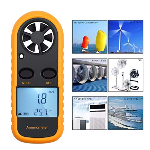 AIUSD Clearance , Digital LCD Air Wind Speed Anemometer Temperature Gauge Meter Tester Thermometer (Speed Gauges Glow)