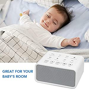 White Noise Machine, Sound Therapy Machine, Baby Sound Machine, with 8 Soothing Natural Sounds, 3 Timer, and Background Night Light (White)