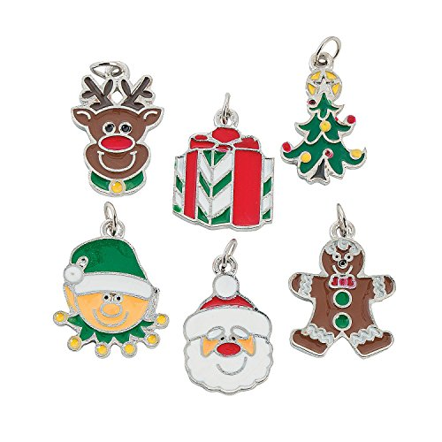Holiday Enamel - Happy Holidays Enamel Charms (3 Dz.) - Christmas Decorations by Fun Express