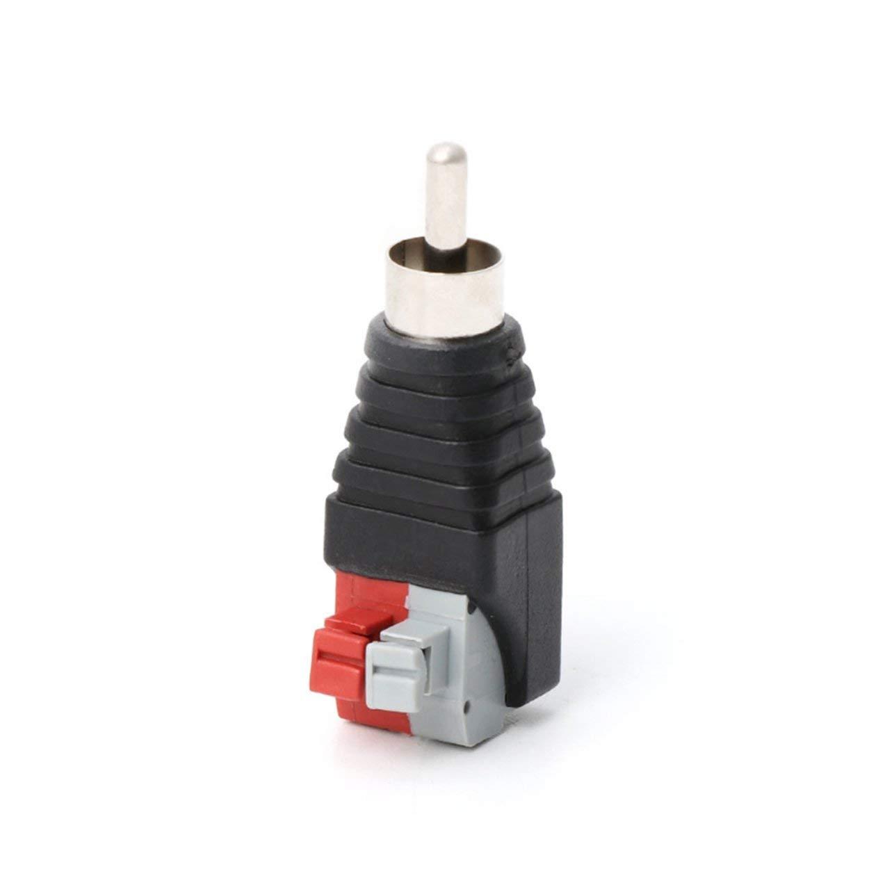 Rojo Gris Cable de Altavoz Cable de A//V a Audio Adaptador de Conector RCA Macho Jack Luces LED Simplemente Apariencia Profesional-Negro