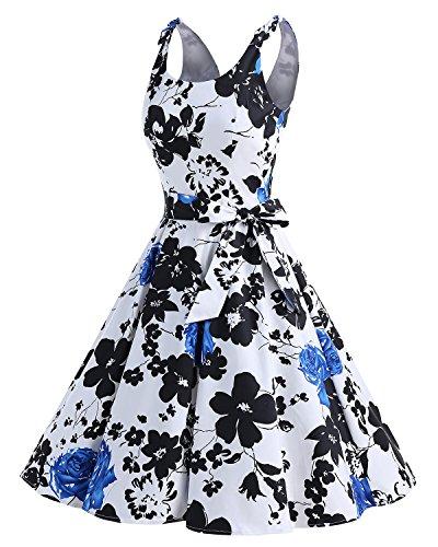 Blue de Vintage Vestidos Bbonlinedress Retro con Flower Estampado Lazo Cóctel Rockabilly 1950 q6S55v