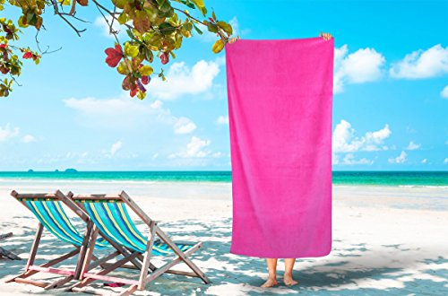 Corner4Shop Large 100% Turkish Cotton Ultra Soft Terry Velour Beach Towel Spa Bath Pool by (1, Hot Pink) 18th Century Toilet