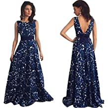 Kstare Women Floral Long Formal Prom Sleeveless Party Ball Gown Evening Wedding Dress (Blue, XL)