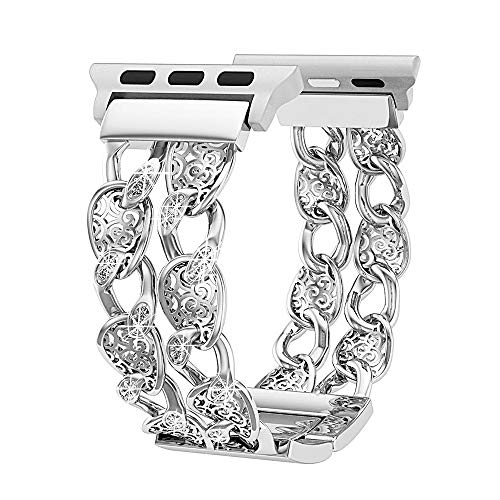 Compatible Apple Watch Band 42mm 44mm Women Silver, Breathable Cowboy Chain Rhinestone Replacement Strap Compatible Apple Watch Series 4/3/2/1,Sport and Nike+, Luxury Feminine Wristbands ()