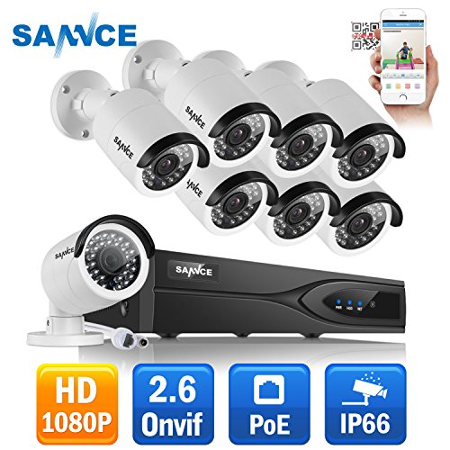 SANNCE 8CH 1080P NVR (1920 x 1080p) Network POE Video Security Camera System (NVR Kit) – 8 2MP 1080P POE Outdoor Bullet IP Cameras and NO Hard Drive, 100ft Night Vision, Face Detect