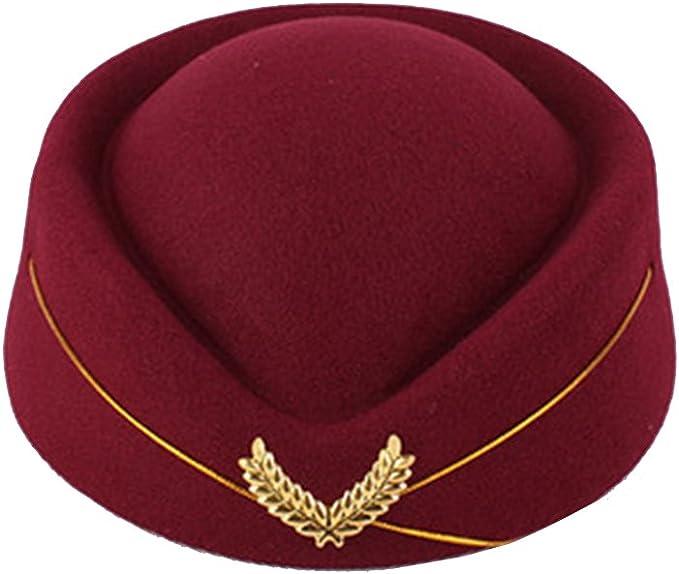 Hut Mütze Kostüm Frauen Flugbegleiterin Kappe Kopfbedeckung Cosplay Stewardess