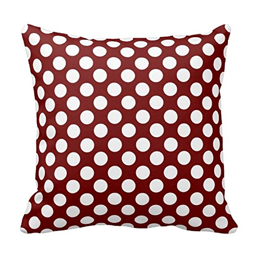 Dark Maroon and White Polka Dots Design Throw Pillow Cover Case Decorative Square for Home Sofa 18X18 Inches Two Sides - Maroon Dot