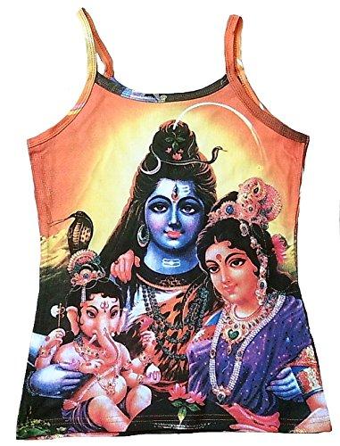 Ticila Damen Spaghetti Träger Top Shirt Gelb Hindu Deities Family Lord SHIVA PARVATI GANESHA Psychodelic Goa Trance Dj Beach Party Kunst Art Religion Star Designer Vintage Tattoo Design