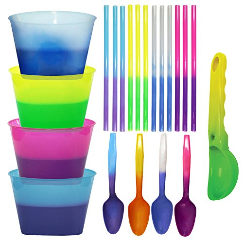 (Color Changing Reusable Ice Cream Kit - 4 bowls, 4 spoons, 12 straws, 1 scoop)