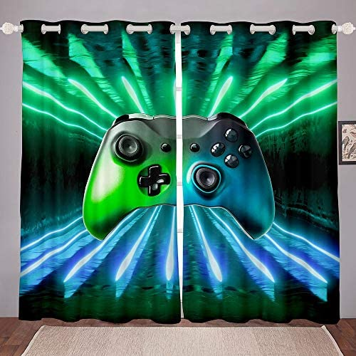 Erosebridal Green Blue Gamepad Window Curtain