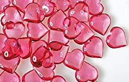 192 Translucent Rose Pink Acrylic Hearts for Vase Fillers, Table Scatter, or Decoration