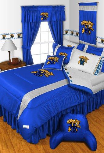 Kentucky Wildcats Jersey Comforter (Kentucky Wildcats 6 Pc FULL Size Comforter Set and One Matching Window Valance/Drape Set - Entire Set Includes: (1 Comforter, 2 Pillow Cases, 2 Shams, 1 Bedskirt, 1 Matching Window)
