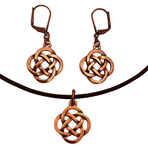 DragonWeave Infinity Knot Charm Necklace & Earring Set, Antique Copper Brown Leather Adjustable ()