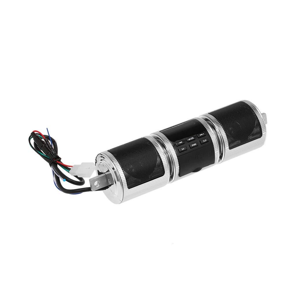 KKmoon Altavoz BT Impermeable para Manillar de Motocicleta Radio FM Sonido Est/éreo Soporte Ajustable Reproductor de Musica MP3