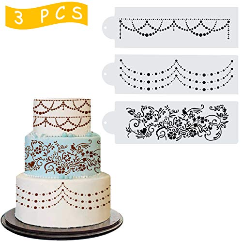 Wedding Cake Stencil Template, Kissbuty 3 Pcs Cake Decorating Embossing Plastic Spray Floral Cake Cookie Fondant Side Baking Mesh Stencil Mat Wedding Decor Tools (Floral Vine) (Mesh Cake Stencil)