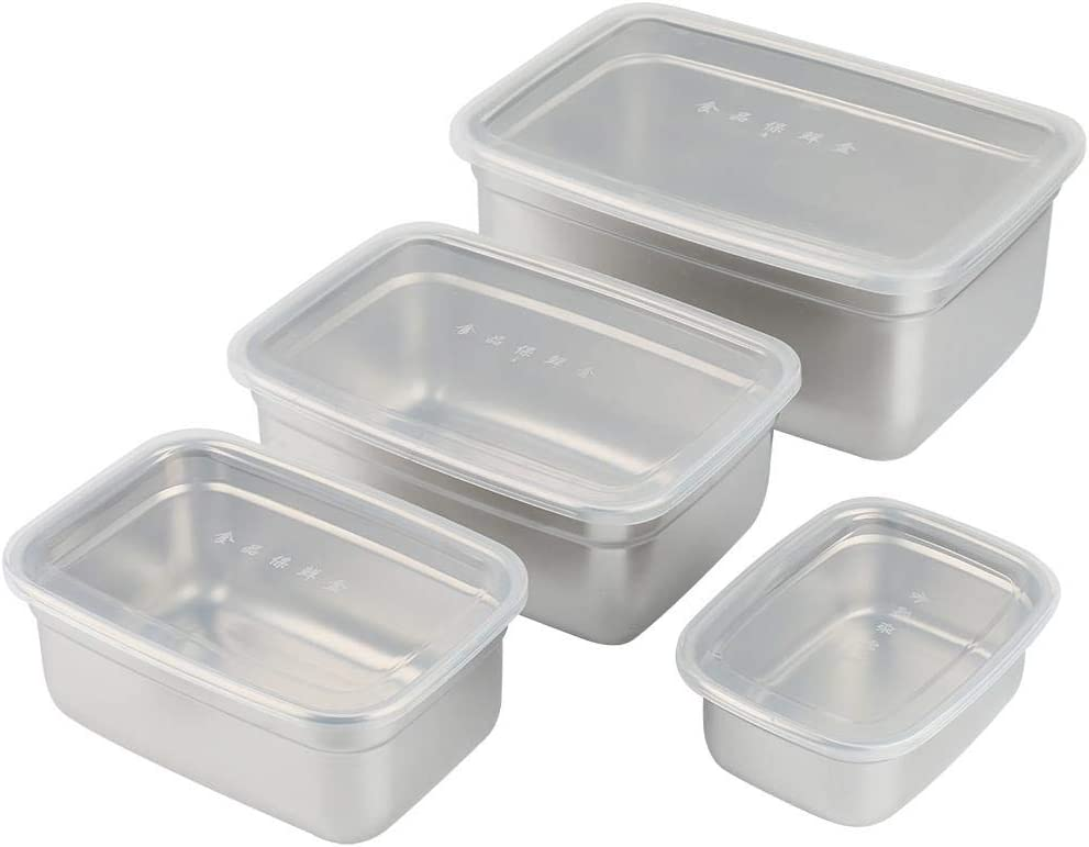 Storage Box with Lid Thick Non-magnetic Stainless Steel Storage Box Set of Four Sets of rectangular Food Containers Dishwasher Safe