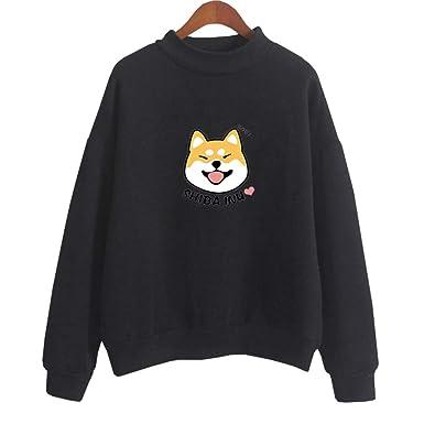 Bangerdei Women s Shiba Inu Animal Print Jumper Sweatshirt Cute Casual  Hoodie Top at Amazon Women s Clothing store  0d263dd948