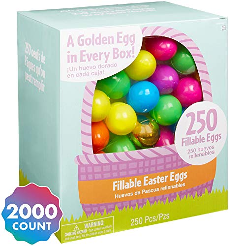 Party City Multi-Colored Fillable Easter Eggs, Plastic Hinged, 6 Assorted Colors + 8 Gold Eggs, 2,000 Count
